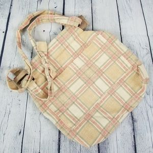 Peach plaid handcrafted fabric tote